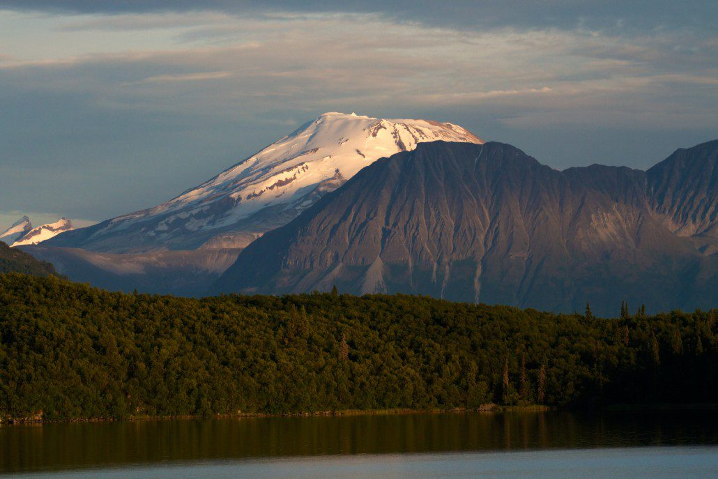 Alpenglow on Mt. Griggs from the Bay of Islands