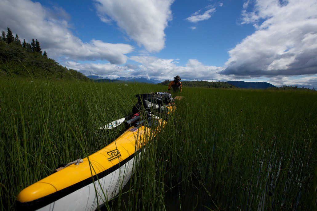 Kayaking through the back marshes of the Bay of Islands, Katmai National Park