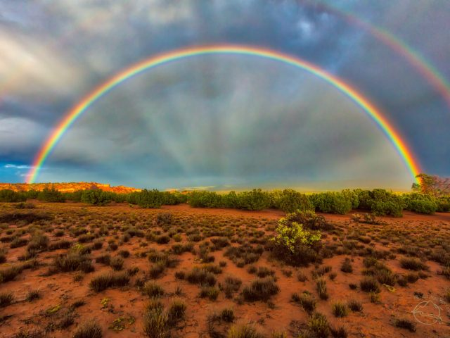 Double Rainbow and anti-crepuscular rays over Northern New Mexico