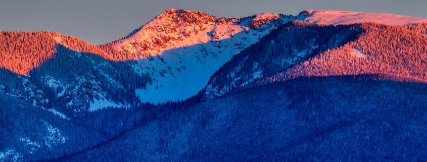 Alpenglow on the mountains in New Mexico.