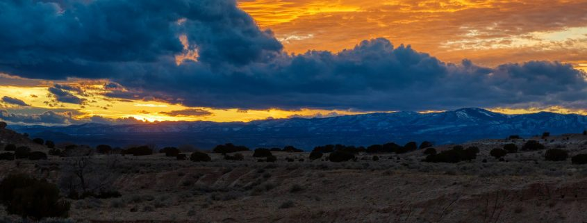Sunset clouds over the Jemez Mountains in New Mexico